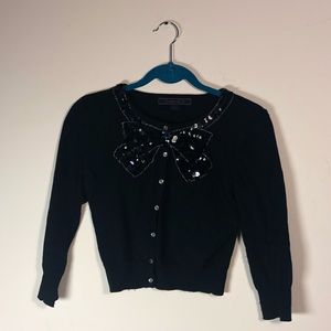 Forever 21 cropped black cardigan with sequins
